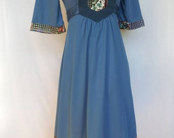 1970s Dress, Jody T of California, Patchwork Bodice, Slate Blue, Polyester, Extra Small XS