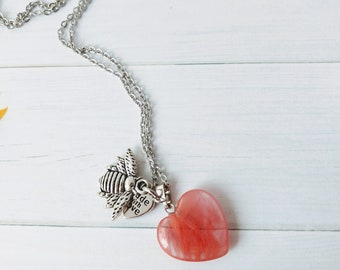 Pink Quartz, Bee Love Charm Necklace, Bee jewelry, Save the bees, pink jewelry, crystal jewelry, pendant necklace, pink pendant necklace