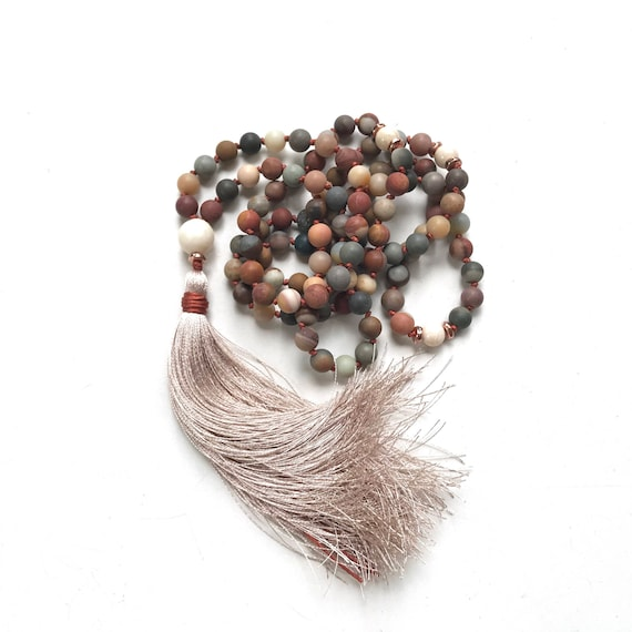 Earthy Jasper Mala Beads To Help Combat Exhaustion, Mala For Calming, 108 Mala Bead Necklace, Hand Knotted Mala With Silk Tassel