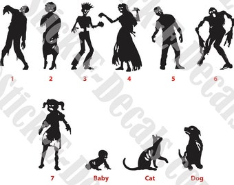 Zombie Family Decal Sticker FREE USA SHIPPING!