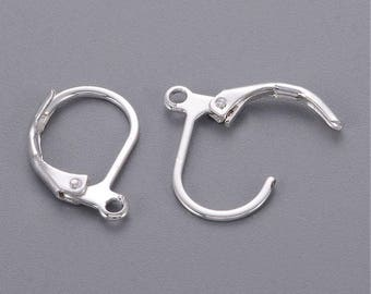 10pcs (5pairs), 15x10mm, Brass Lever Back Hoop Earrings, Nickle Free, Silver