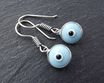Opaque Pale Blue Evil Eye Dangle Earrings Bohemian Boho Style Light Comfortable Daytime Jewelry Authentic Turkish Style FREE SHIPPING