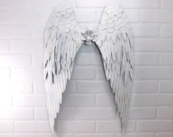 White Angel Wings,Angel Wings,Angel Wing Decor,Metal Wall Decor,Rustic Nursery Decor,Spiritual Decor,Gift For Mom,Bedroom Wall Decor