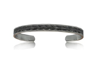 Sterling Silver Hawaiian Black Rhodium Two Toned 6mm Maile Cuff Bangle (BC005)