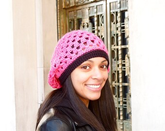 Slouchy Hat, Crochet, Pink, Women,Teen, Ready To ship, Tam,