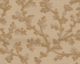 Tapestry Fabric Upholstery / Decorator Fabric Cotton brocade Tans / browns / gold Small leaf print