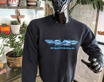 Faded Black Vintage Seaworld Sweatshirt 1980s - SHARKS