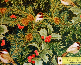 """One Fat Quarter Cut Quilt Fabric, """"CHICKADEES & BERRIES"""" by Jackie Robinson of Animas Quilts 4 Benartex, Sewing-Quilting-Craft Supplies"""