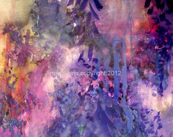 """Modern Art Print-- Archival Print of Original Painting-- """"Wisteria Cantata in Violet"""""""