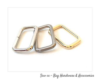 Rectangle Rings 38mm - Iron Rectangle Rings - Nickel, Brushed Nickel or Light gold -  (PACK OF 2) - Sew cc bag hardware & accessories