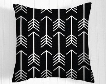 Black Pillows -  Pillow Cover-   Decorative Pillow Size Choice Throw Pillow Pillows  Accent Pillows Black Arrows