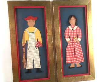 Farmer Folk Art Collages - 3D Fabric, Lace, Straw, Beads - Man Woman Couple - Red Gingham Dress, Plaid Overalls - Vintage Gold Frames