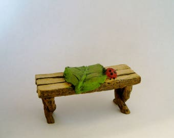 Fairy Bench - Fairy Garden - Fairy Furniture - Woodland -Ladybug - Nature - Miniature Gardening - Craft Supply