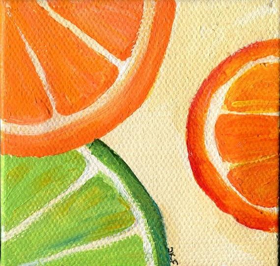 Lime Oranges Original little painting canvas Easel 3 x 3