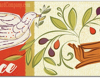 Peace Dove Christmas Cards, 8 Cds/color env, Vintage Christmas Cards   Retro Christmas Cards   1960s Style Christmas Cards