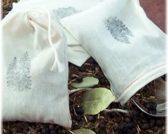 Fir Needle Sachets, Natural Closet Fresheners with Juniper Berries, Herbal Sachet,  Set of 3
