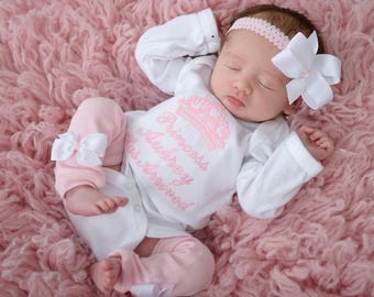 Baby Girl Coming Home Outfit Clothes Monogrammed Newborn Leg Warmers Bow Headband Personalized Princess Has Arrived Take Home Clothing