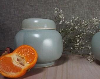 Spice pot stoneware green celadon glaze