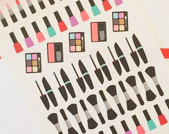 54 Beauty Planner Stickers- Lipstick, Mascara and Nail Polish Stickers- perfect in your Erin Condren planner, wall calendar or scrapbook