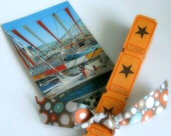 VINTAGE CARNIVAL TICKETS -   50 Vintage Tickets - Halloween Colors - Star -  Ticket Lot - Ephemera