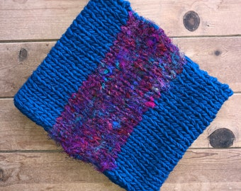 Colorblock Bright Chunky Knit Wool Cowl with Recycled Silk Sari Yarn