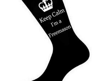 Mens Keep Calm i'm a Freemason Masonic Socks. A fun Unique thoughtful Gift Idea for your Husband, Dad, Friend *Various Colours*
