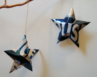 Icehouse Beer Stars Christmas Ornaments Aluminum Can Upcycled