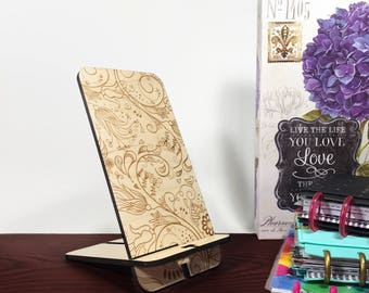 Flower Phone Stand - Charging Station - Cell Phone Stand - Docking Station - Phone Stand - Cell Phone Holder - Wood Phone Stand