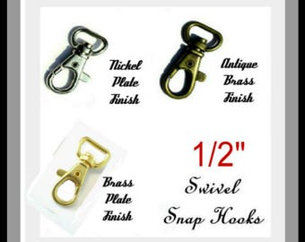 """20 PIECES - 1/2"""" - Swivel Trigger Snap Lobster Claw Hook, 1/2 inch, .5, 12.7mm, Purse Strap Clip - Nickel or Brass Plate or Antique Brass"""