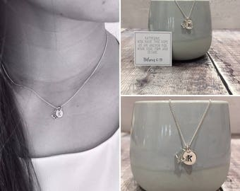 Sterling Silver Anchor and Initial Tag with Personalised Scripture (free gift box)