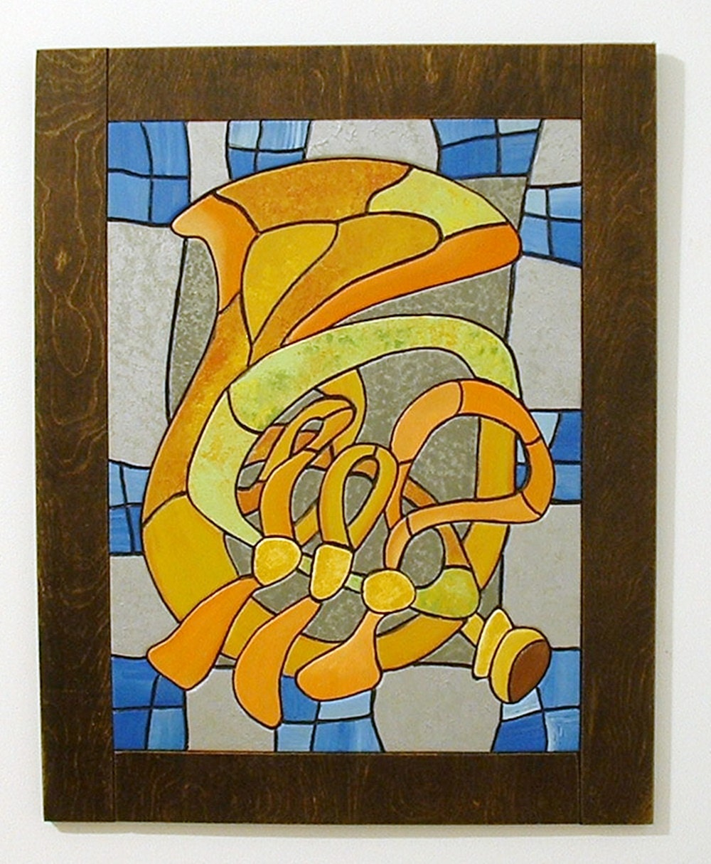 Abstract French Horn Wood Sculpture Wall Art Music