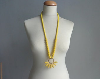 Yellow tassel necklace, yellow statement necklace, long yellow necklace
