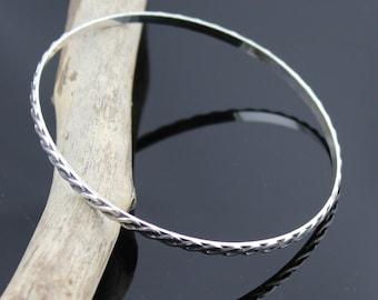 Infinity Bangle Bracelet; Sterling Silver, Infinity Stacking Bangle
