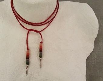Red Bolo Choker, Wrap Tie Necklace, Wrap Bolo Choker, Feather Bolo Choker, Western Necklace, Suede Bolo Necklace, Multiway Tie Choker