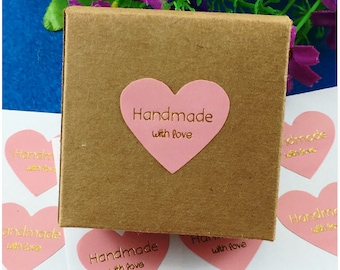 80 Handmade with Love stickers Pink heart stickers Gift tag labels Pink and gold stickers Pink heart labels Jewelry Gift bag stickers labels