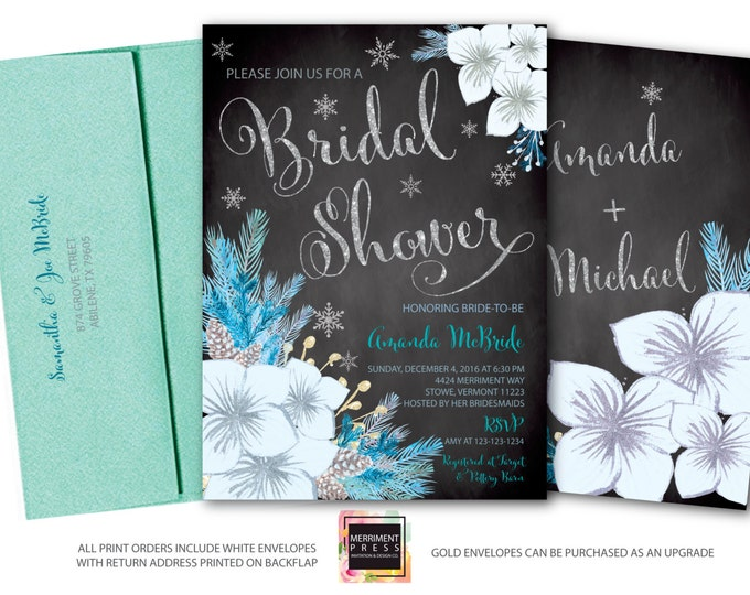 Winter Bridal Shower Invitation // Snowflake Bridal Shower // Winter Bridal Shower // Blue //Teal /  Holiday // Silver // VERMONT COLLECTION