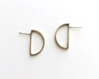 semicircle stud earrings / half circle earrings / minimal semicircle earrings /  geometric stud earrings / gold stud earrings
