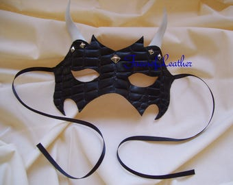 Black leather studded mask,Masquerade,Halloween Demon Mask.