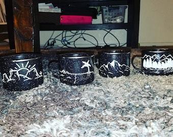 Hand painted camp style enamel mug set