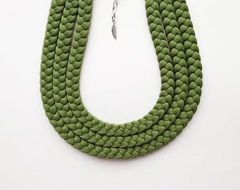 unique necklaces for women, green choker, braided necklace, greenery necklace, boho necklace, green necklace, greenery fabric