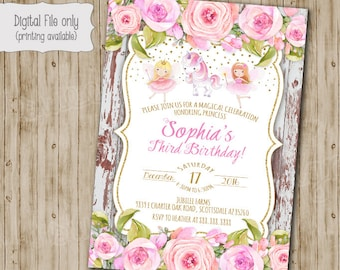 Fairy Birthday Invitation, Fairy Garden Invitation, Fairy and Unicorn Woodland Invitation, Boho Chic, Shabby Chic, Watercolor, Vintage