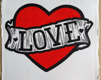 Love - A Love Heart Lino Print, Hand Coloured with Red Watercolour Paint