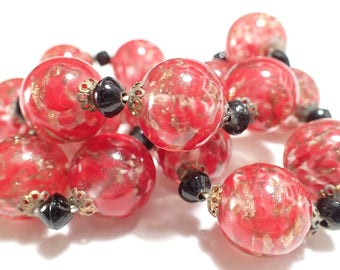 Red With Gold Fluss Venetian Art Glass Bead Necklace Earrings Set
