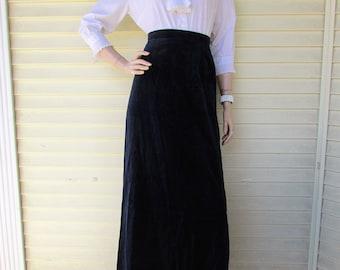 Black Velvet Maxi Skirt Vintage 70s SOFT Cotton VELVET Boho Hippie Modern Long Skirt L-XL