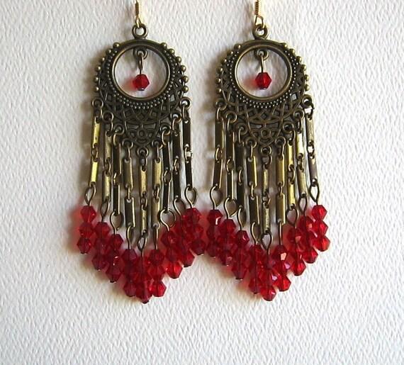 Long red chandelier earrings red crystal chandelier earrings aloadofball Choice Image