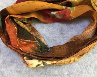 Autumn silk infinity scarf