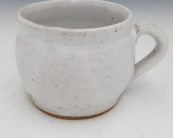 White wheel-thrown mug