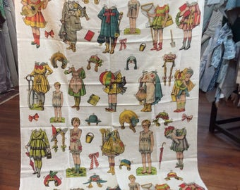 "LAST PIECE 90""inches  ""Paper Dolls"" by Design Legacy print fabric"