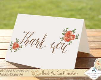 Thank You - Peach Rose - Hand Drawn Printable  Greeting Card Template, Clipart & EPS Vector Art Set - Instant Digital Download - 19447