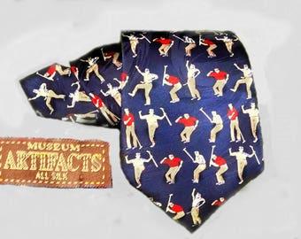 Vintage golf tie -golfer Necktie / Golfing Tie By Museum Artifacts - sportsman tie - novelty tie - navy tie - silk tie -Wide  tie -  # T  6